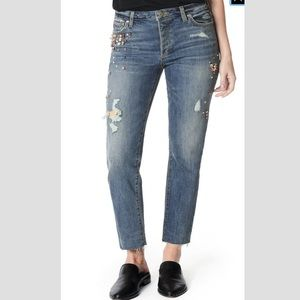 Joe's Jeans The Smith High-Rise Straight Ankle Embellished Raw-Hem Jeans